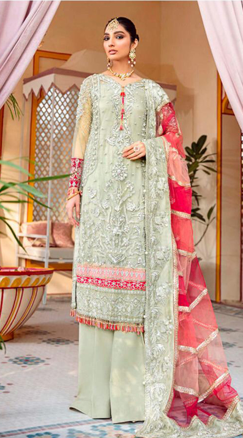 Designer Party wear pakistani style suit in sea Green color ROT9454111413