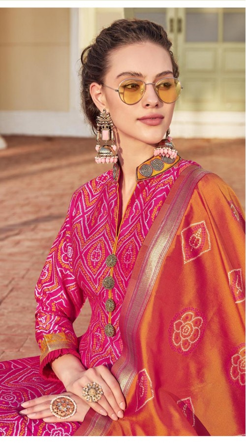 Designer Readymade Party Wear Jacquard Gown Suit in Pink color ROT9461111463