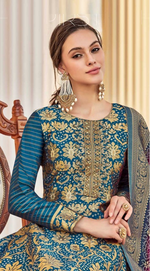 Designer Readymade Party Wear Jacquard Gown Suit in Teal Blue color ROT9461111464