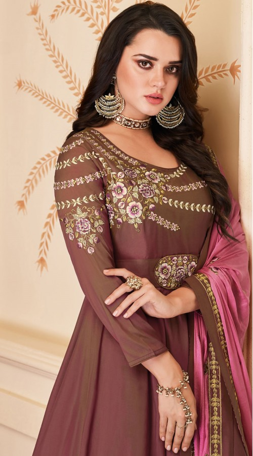 Latest Designer Heavy Soft Silk Gown Suit in Brown Color ROT9466111507