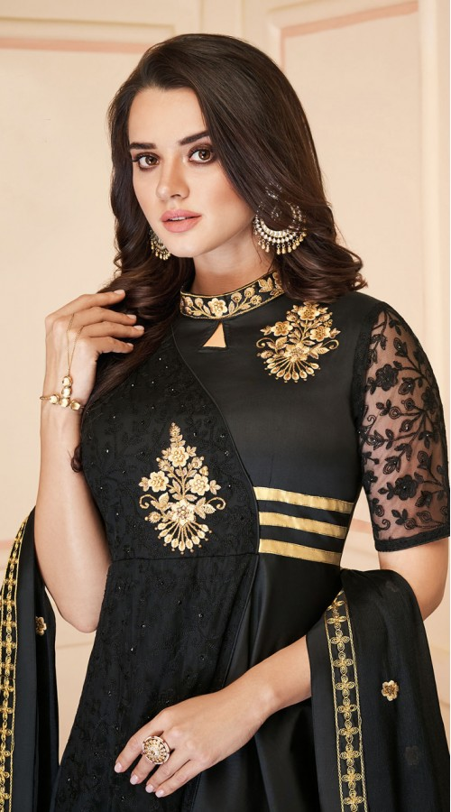 Latest Designer Heavy Soft Silk Gown Suit in Black Color ROT9466111508