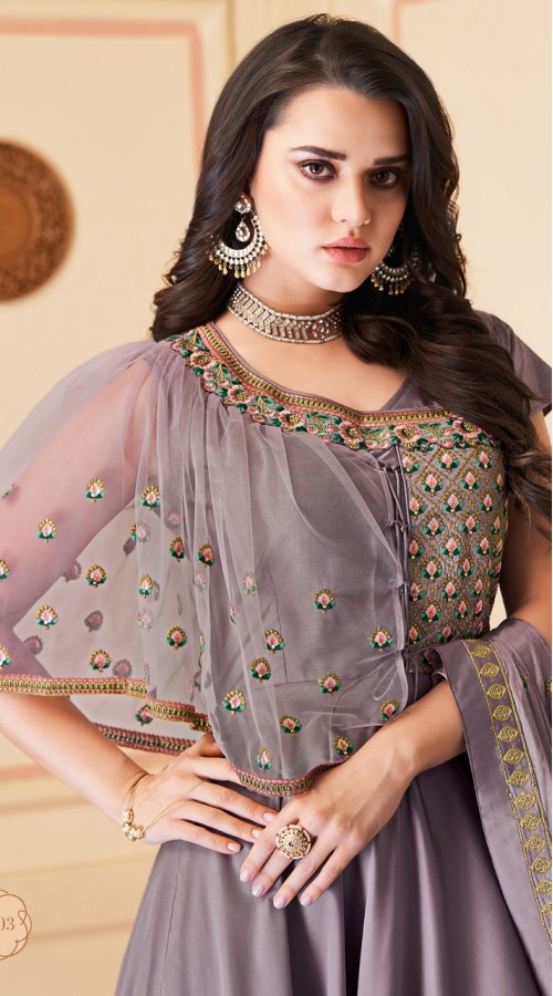 Latest Designer Heavy Soft Silk Gown Suit in Heather Color ROT9466111509