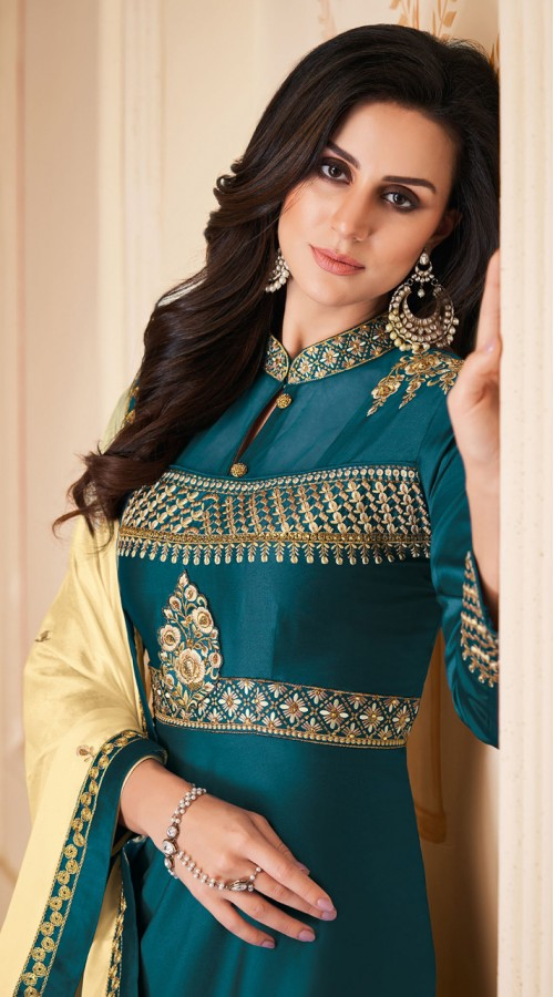 Latest Designer Heavy Soft Silk Gown Suit in Teal Blue Color ROT9466111510