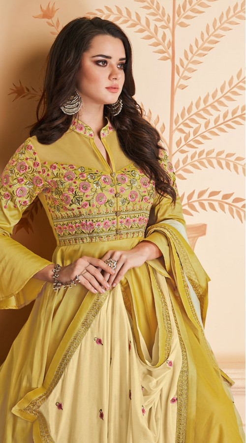 Latest Designer Heavy Soft Silk Gown Suit in Musterd Color ROT9466111511
