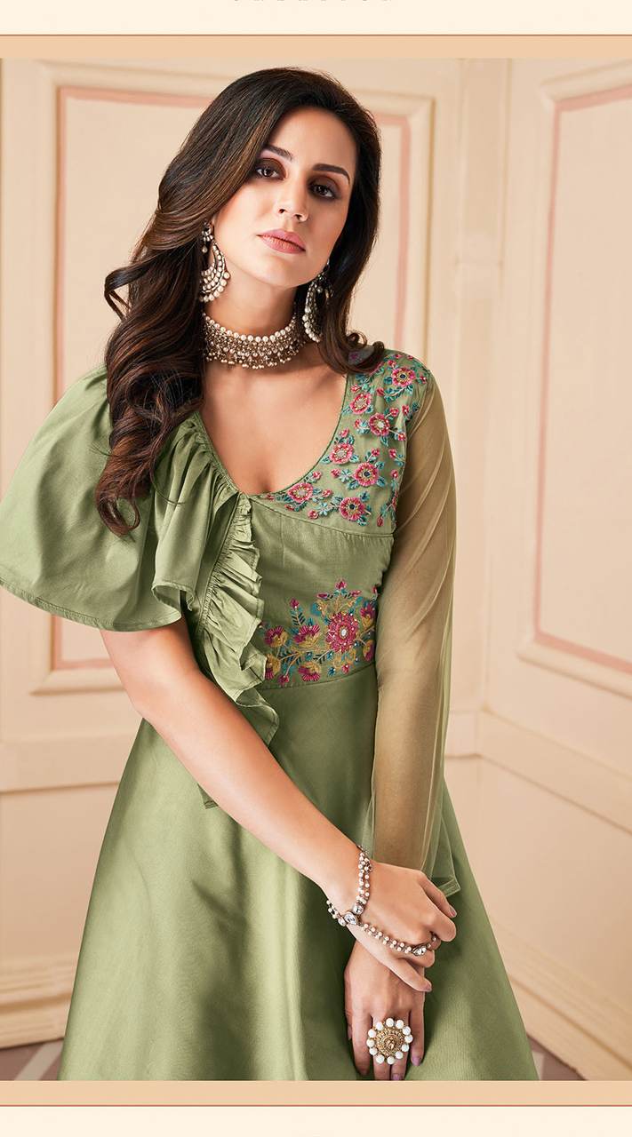 Latest Designer Heavy Soft Silk Gown Suit in Sea Green Color ROT9466111512