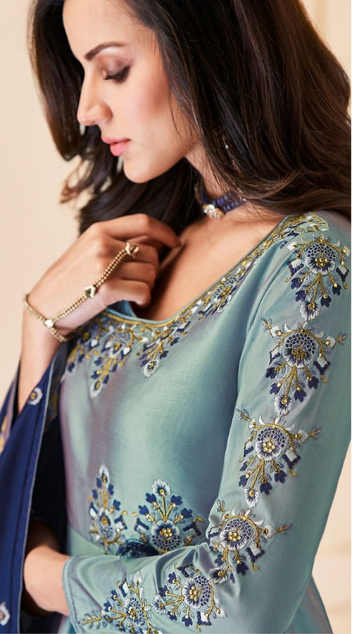 Latest Designer Heavy Soft Silk Gown Suit in Two Tone Sea Blue Color ROT9466111513