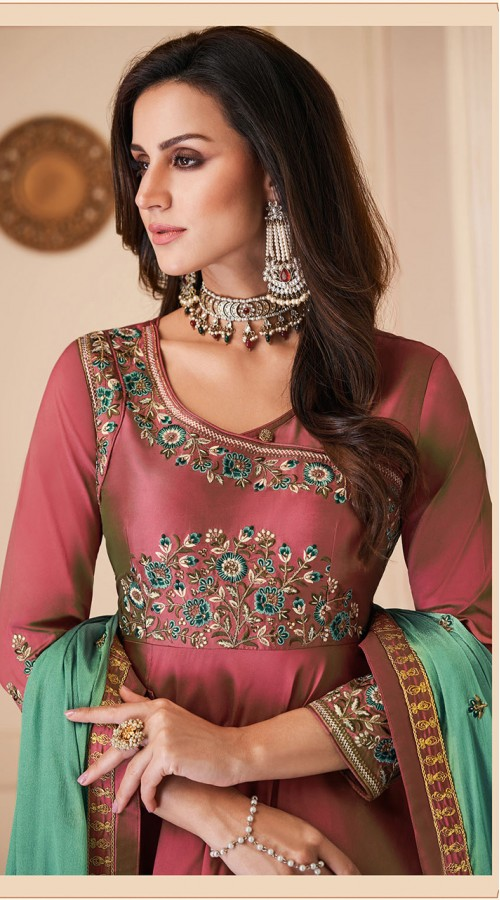 Latest Designer Heavy Soft Silk Gown Suit in Two Tone Maroon Color ROT9466111514