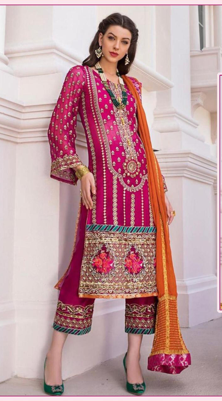 Designer Party wear Pakistani suit in Rani Pink color ROT9478111601
