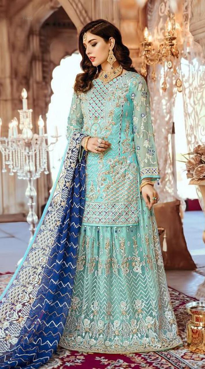 Designer Party wear Pakistani suit in Sky Blue color ROT9478111603