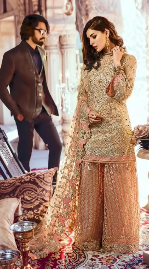 Designer Party wear Pakistani suit in Beigne color ROT9478111604