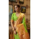 ROTRT1308-128998 Light Green and Musterd color Kanjeevaram Traditional Wear Art Silk Saree