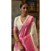 ROTRT1308-128999 White and Pink color Kanjeevaram Traditional Wear Art Silk Saree