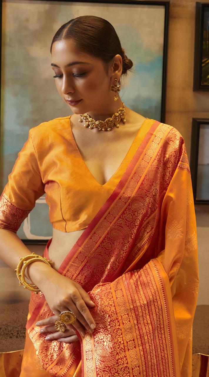ROTRT1308-129000 Orange and Red color Kanjeevaram Traditional Wear Art Silk Saree