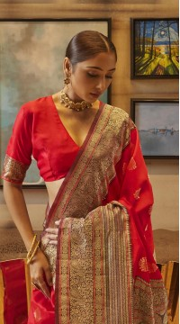 ROTRT1308-129001 Red and Brown color Kanjeevaram Traditional Wear Art Silk Saree