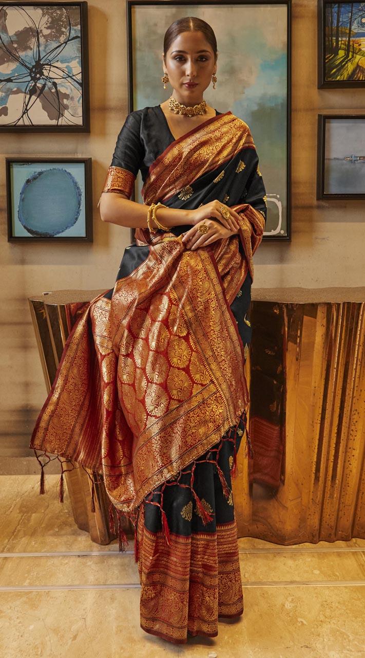 ROTRT1308-129002 Black and Maroon color Kanjeevaram Traditional Wear Art Silk Saree