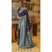 ROTRT1308-129003 Blue and Sky Blue color Kanjeevaram Traditional Wear Art Silk Saree