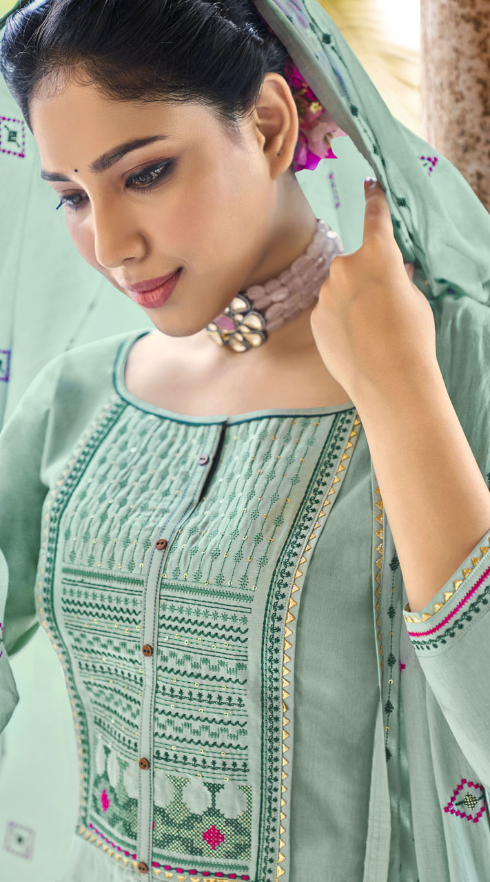 ROTRT1375-129496 Designer Festive Wear Cotton Mal Gharara Suit
