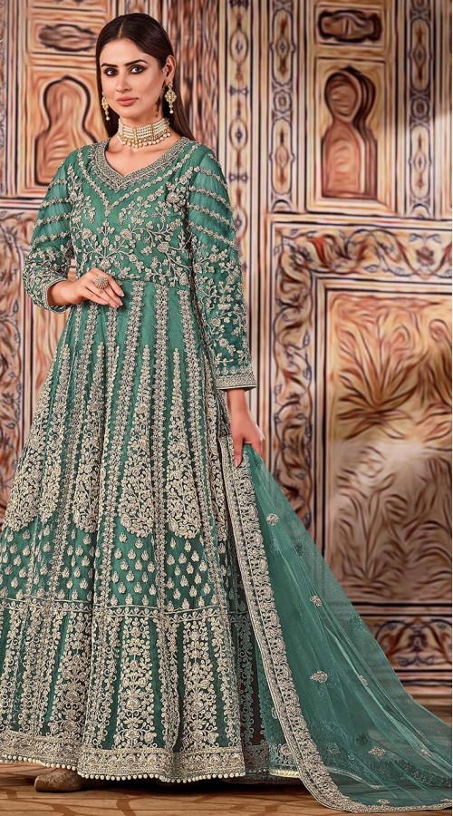 ROTRT1525-130795 green color semi stitched Heavy Designer Net Gown Suit