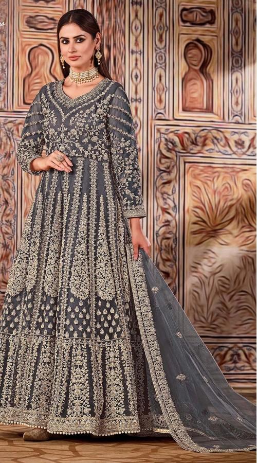 ROTRT1525-130796 grey color semi stiched Heavy Designer Net Gown Suit