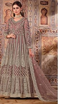 ROTRT1525-130797 brown color semi stitched Heavy Designer Net Gown Suit
