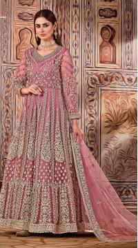ROTRT1525-130798 pink color semi stitched Heavy Designer Net Gown Suit