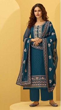 ROTRT1544-130922 Blue Color Semi-Stitiched Georgette Fabric Embroidered Plazzo Salwar Kameez