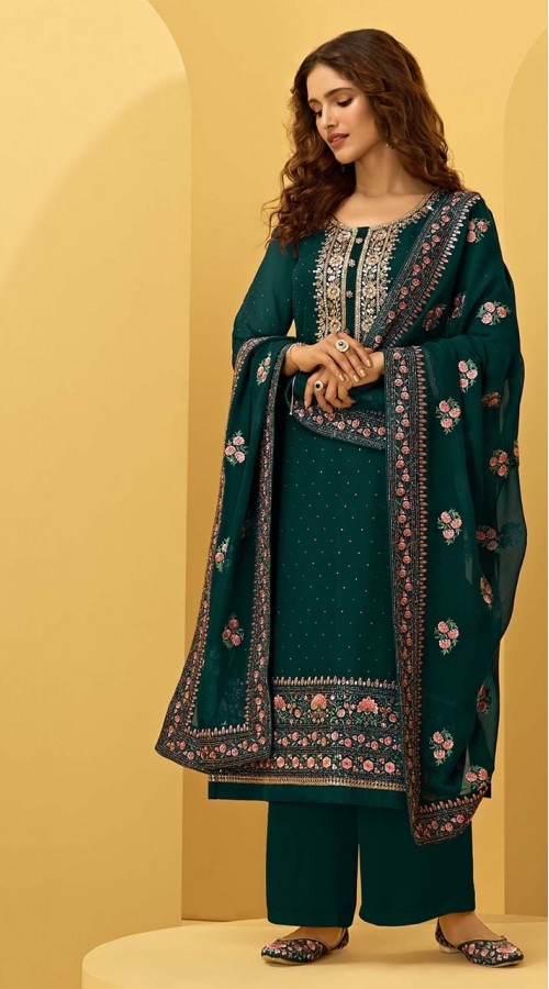 ROTRT1544-130923 Green Color Semi-Stitiched Embroidered Plazzo Style Salwar Kameez