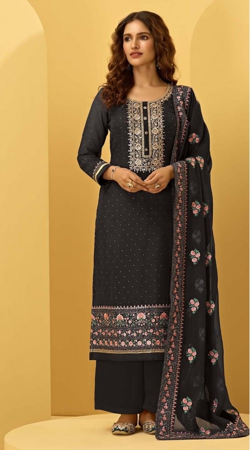 ROTRT1544-130924 Black Color Semi-Stitiched Georgette Fabric Embroidered Plazzo Salwar Kameez