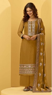 ROTRT1544-130925 Semi-Stitiched Georgette Fabric Heavy Embroidered Haldi Function Wear Yellow Color Dress Material