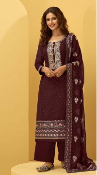 ROTRT1544-130926 Semi-Stitiched Georgette Fabric Heavy Embroidered Plazzo Salwar Kameez