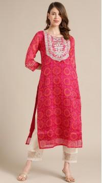 ROTRT1067-127015 Pink Color Designer Party Wear Kurti