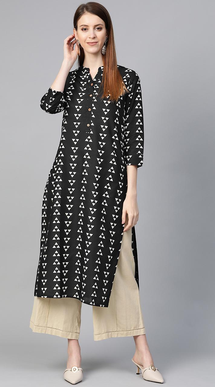 ROTRT1067-127037 Black White Color Designer Party Wear Kurti