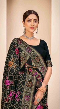 ROTRT1124-127641 Black color Designer Party Wear Banarasi Silk Saree
