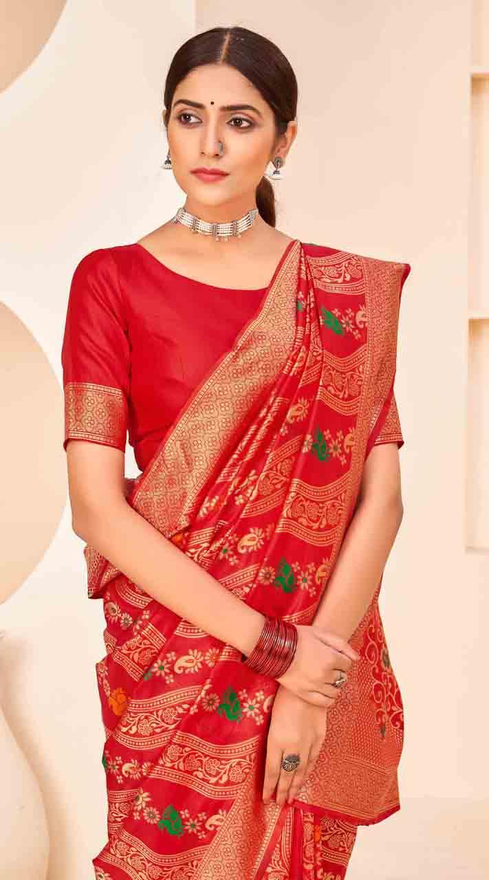 ROTRT1124-127642 Red color Designer Party Wear Banarasi Silk Saree