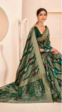 ROTRT1124-127645 Dark Green color Designer Party Wear Banarasi Silk Saree