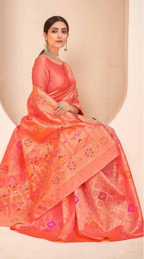 ROTRT1124-127646 Peach color Designer Party Wear Banarasi Silk Saree
