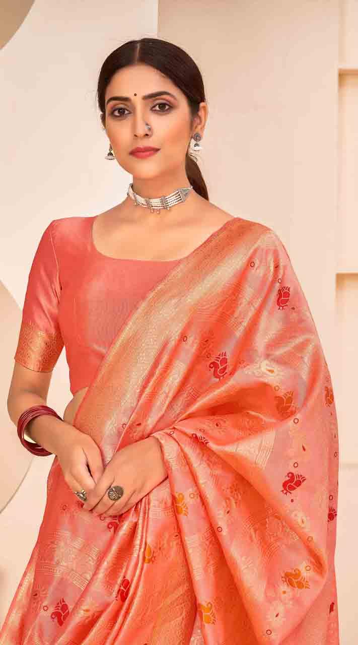 ROTRT1124-127648 Peach color Designer Party Wear Banarasi Silk Saree