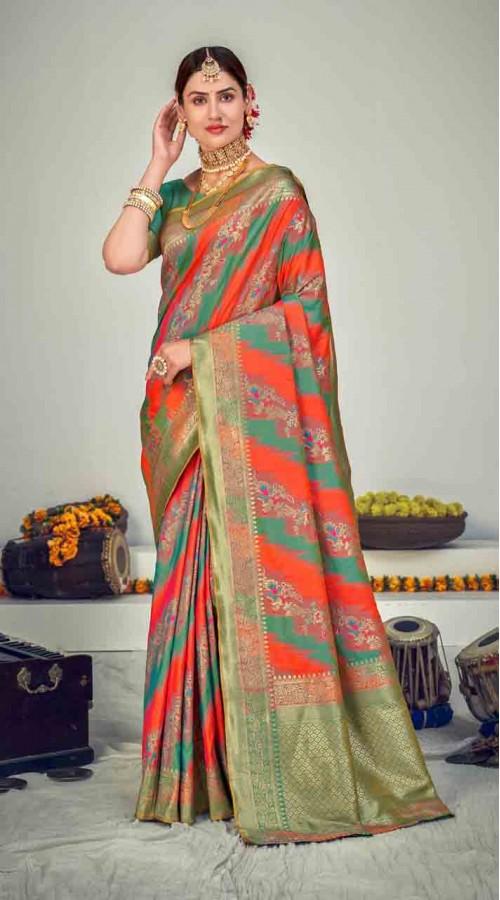 ROTRT1125-127650 Multi color Designer Party Wear Banarasi Silk Saree