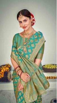 ROTRT1125-127652 Firozi color Designer Party Wear Banarasi Silk Saree
