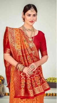 ROTRT1125-127653 Orange color Designer Party Wear Banarasi Silk Saree
