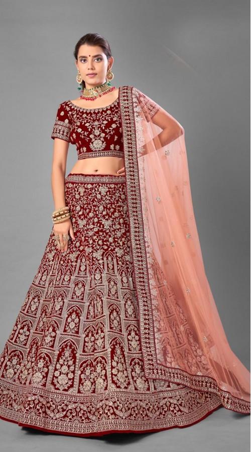 ROTRT1214-128355 Maroon Color Designer Bridal Wear Velvet Lehenga Choli