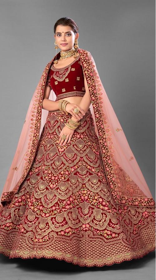 ROTRT1214-128356 Maroon Color Designer Bridal Wear Velvet Lehenga Choli