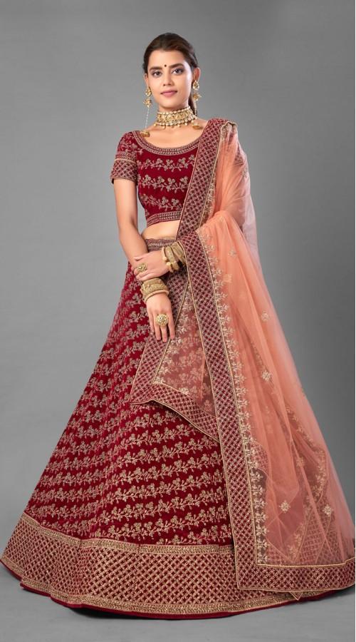 ROTRT1214-128357 Maroon Color Designer Bridal Wear Velvet Lehenga Choli