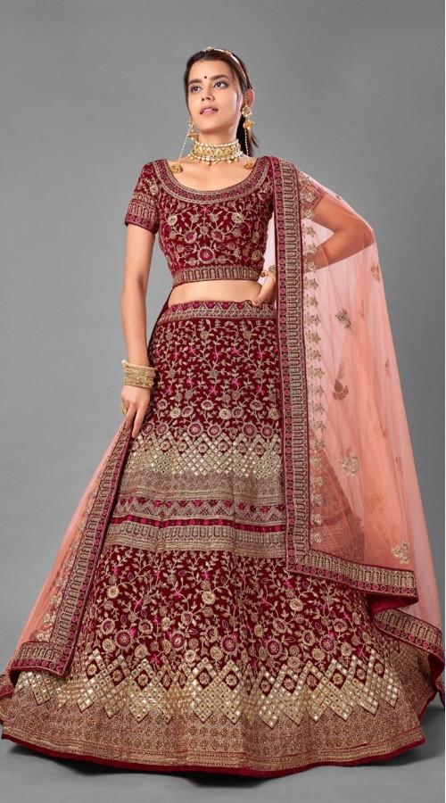 ROTRT1214-128358 Maroon Color Designer Bridal Wear Velvet Lehenga Choli