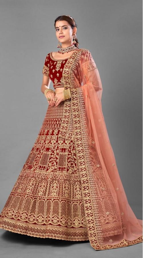 ROTRT1214-128359 Maroon Color Designer Bridal Wear Velvet Lehenga Choli