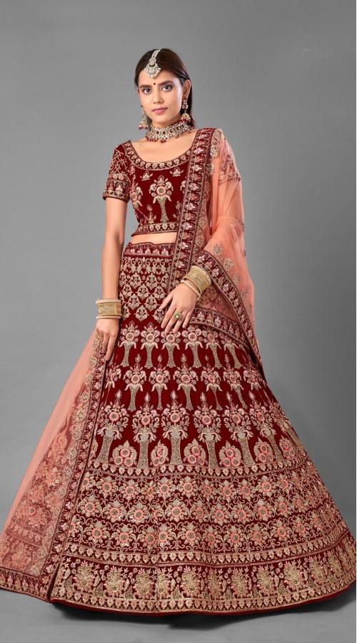 ROTRT1214-128360 Maroon Color Designer Bridal Wear Velvet Lehenga Choli