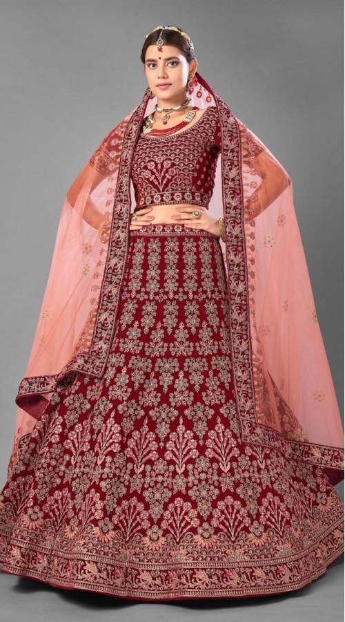 ROTRT1214-128361 Maroon Color Designer Bridal Wear Velvet Lehenga Choli