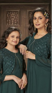 ROTRT1590-131321 Readymade Designer Party Wear Readymade Heavy Blumming Georgette Mother & Daughter Gown