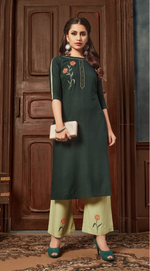 Bottle Green color kurti with Airjet Rayon fabric and Pista color Plazzo ROT9036107726