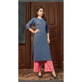 Blue color kurti with Airjet Rayon fabric and Gajari color Plazzo ROT9036107727